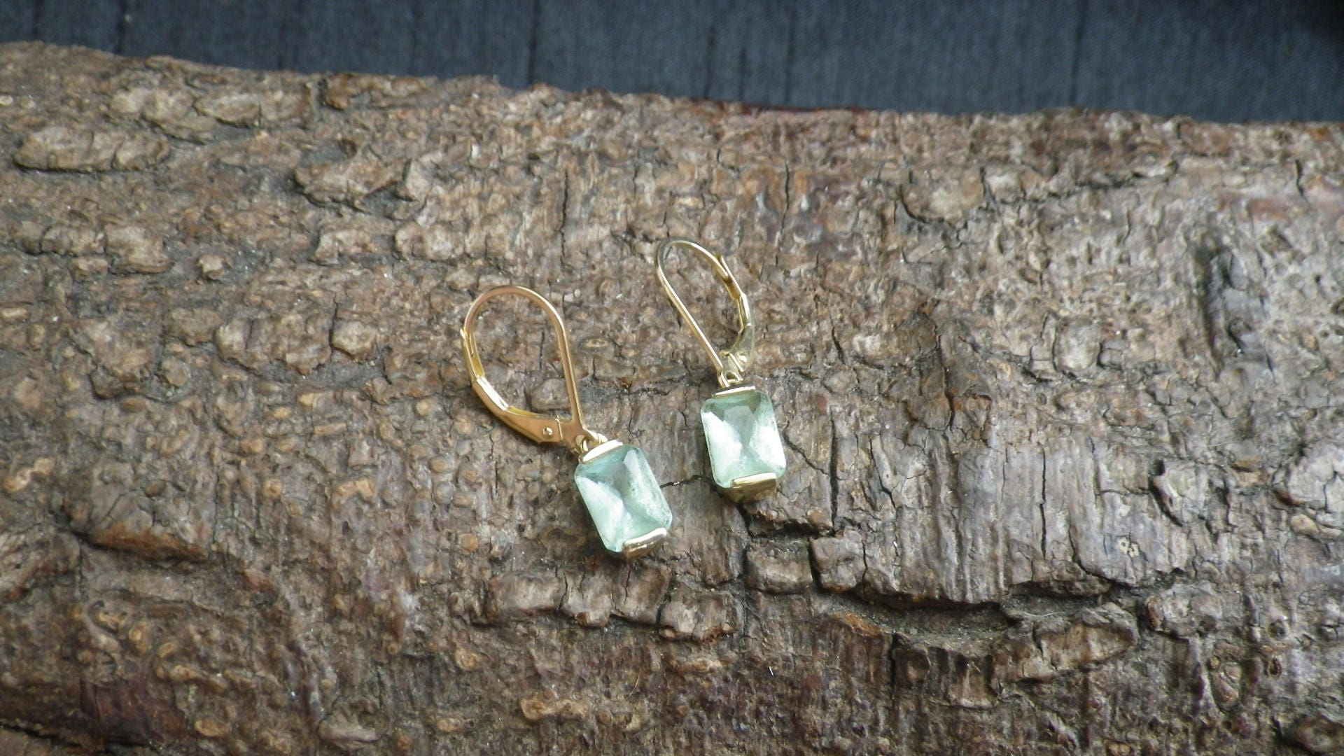 Vintage Sterling Silver Gilt Aquamarine Coloured Rhinestone  Drop Earrings