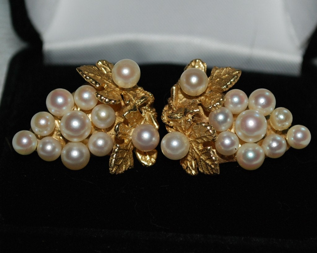 SALE Pearl Gold Earrings Grape Cluster Omega Clip 12.0 grams 14 kt Cream White Luster Christmas Gift for Her