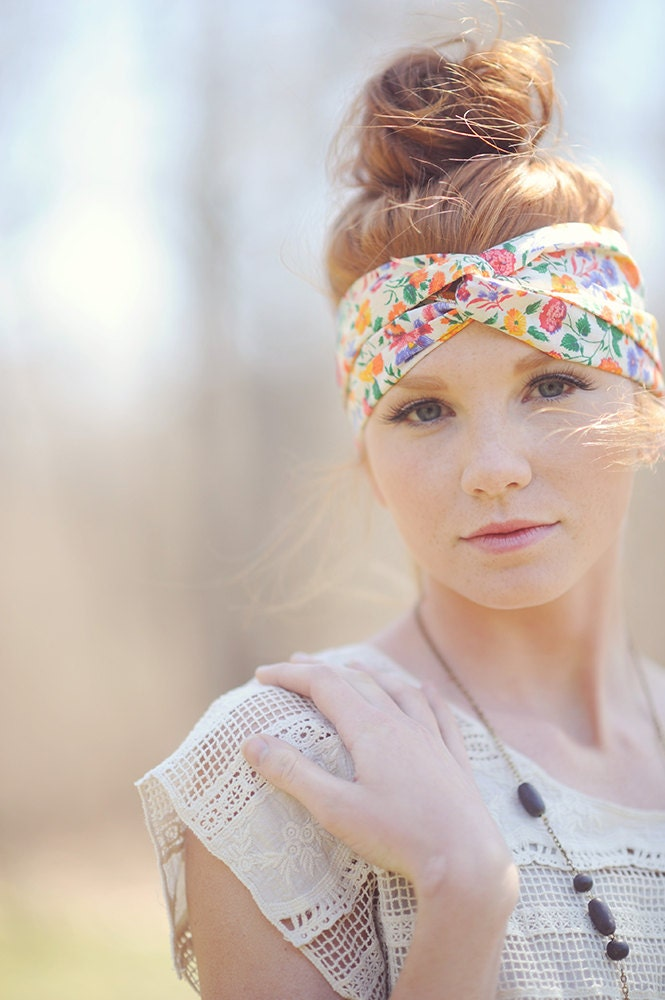 Floral Bohemian Head Wrap / Neat Neon Floral - PixelandHank