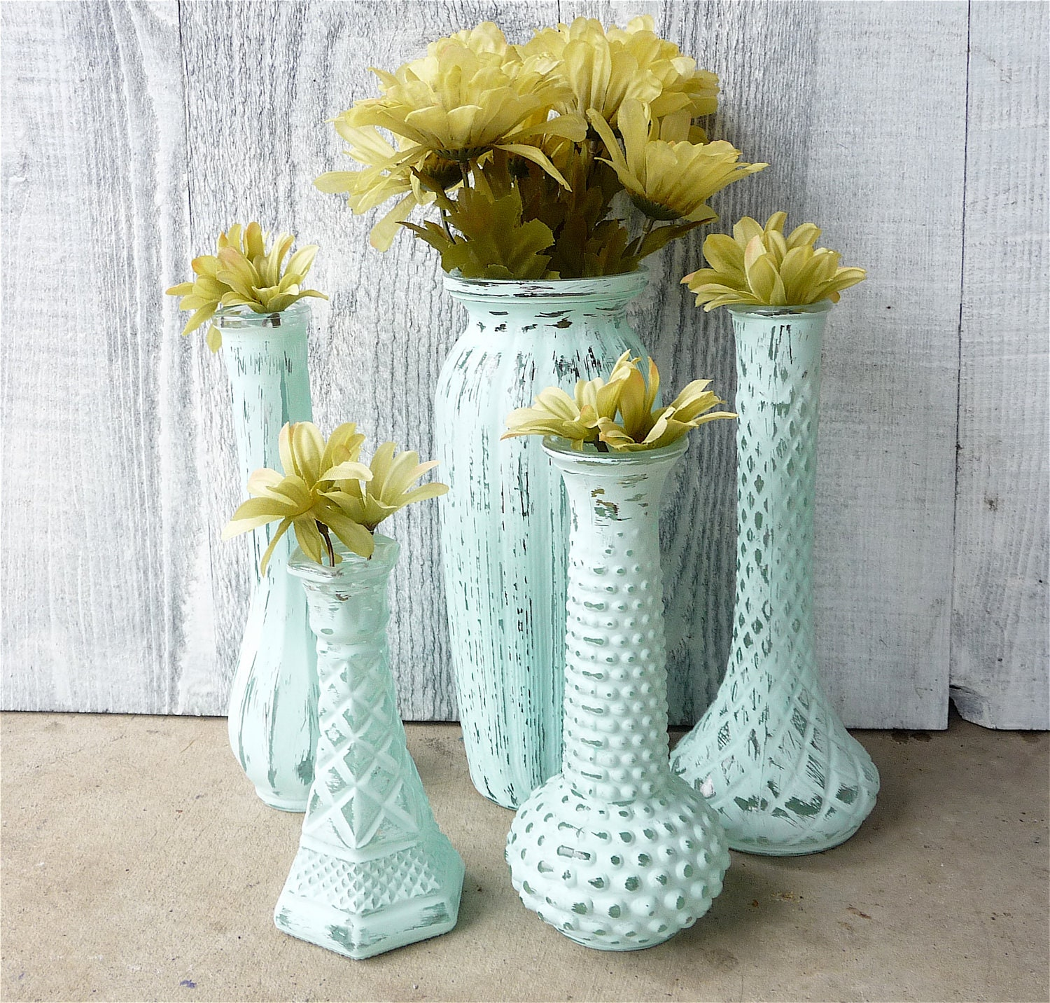 Shabby chic painted vases set of 5 in teal aqua by - Telas shabby chic ...