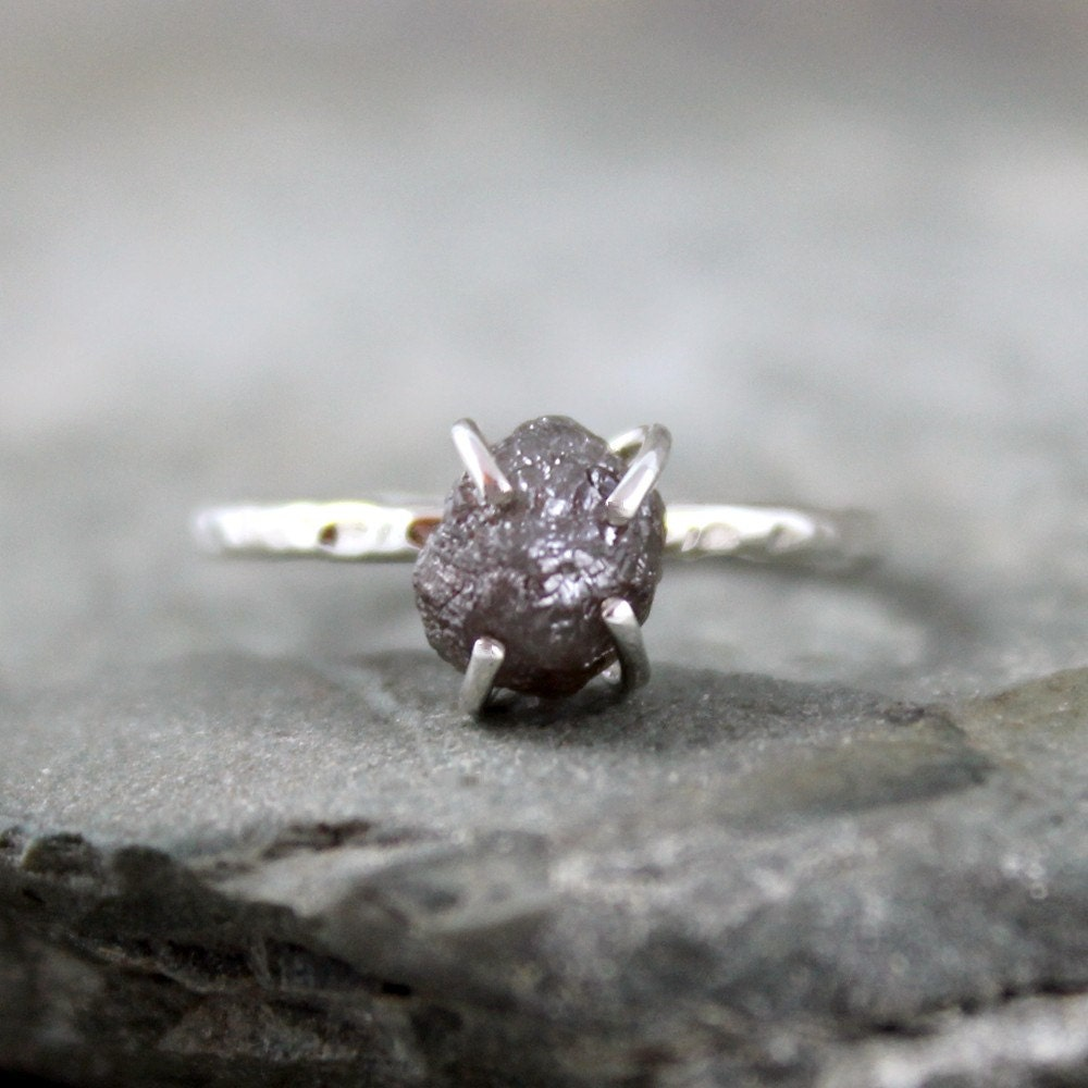 2 Carat Uncut Rough Diamond Solitaire Engagement Ring  -   Sterling Silver Artisan Jewellery - Handmade and Designed by A Second Time - ASecondTime