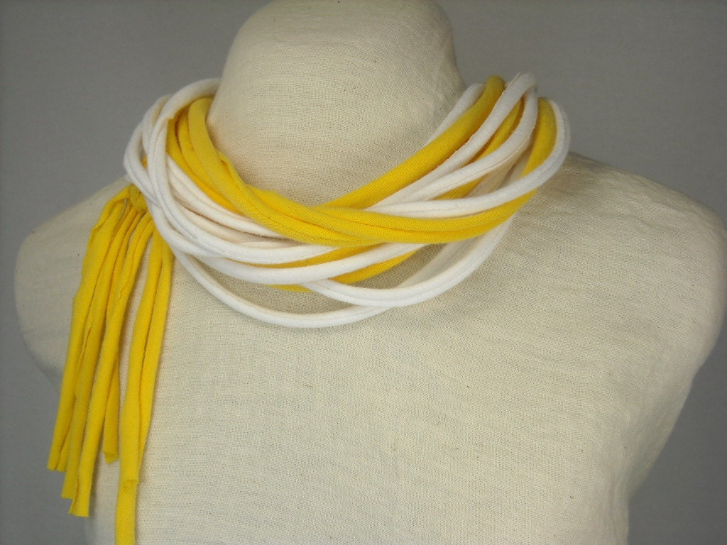 Sunshine Yellow and White Infinity Scarf with Tassel made with Upcycled Cotton Jersey - DailyAccessories