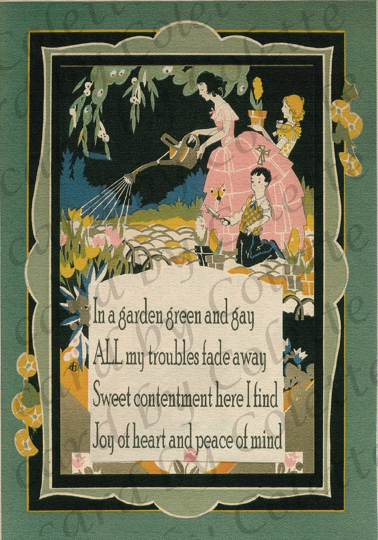 Art deco garden poem digital collage greeting card - Art deco gardinen ...