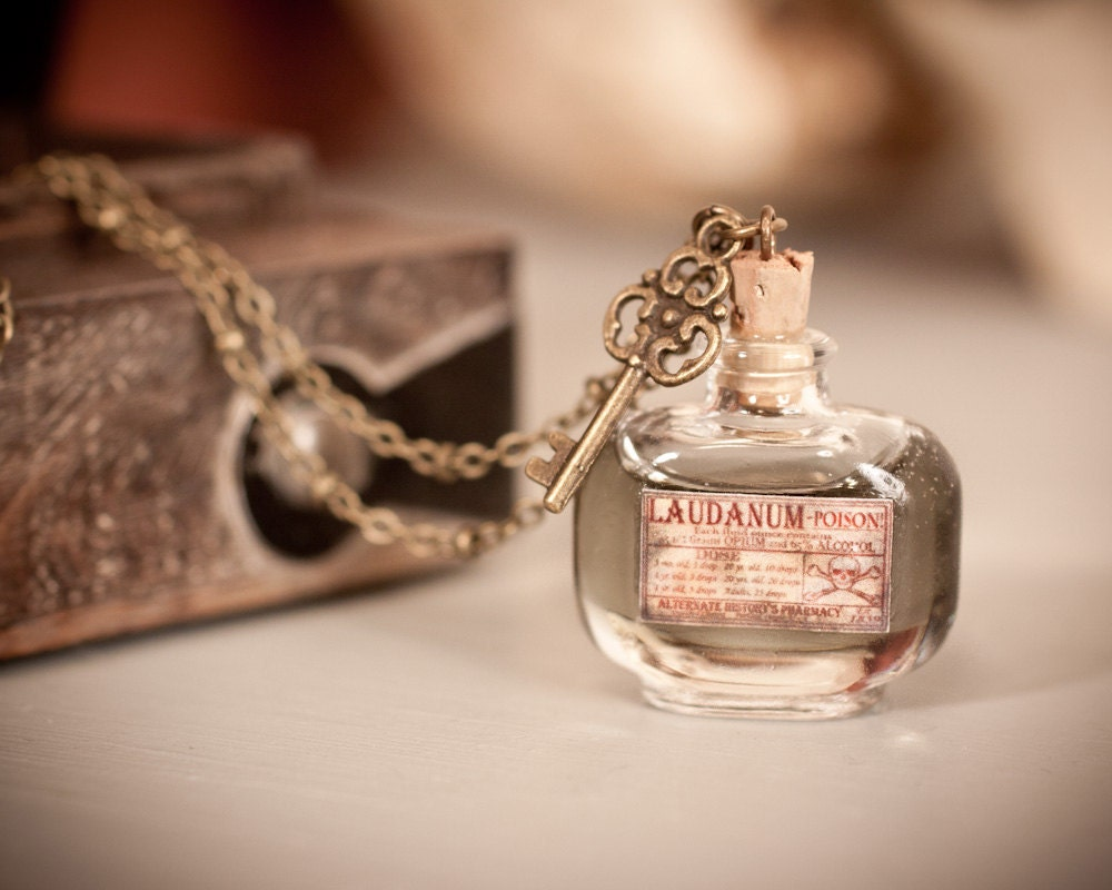 Laudanum / Poison Bottle Necklace with Skeleton Key - Small Apothecary Labeled Bottle