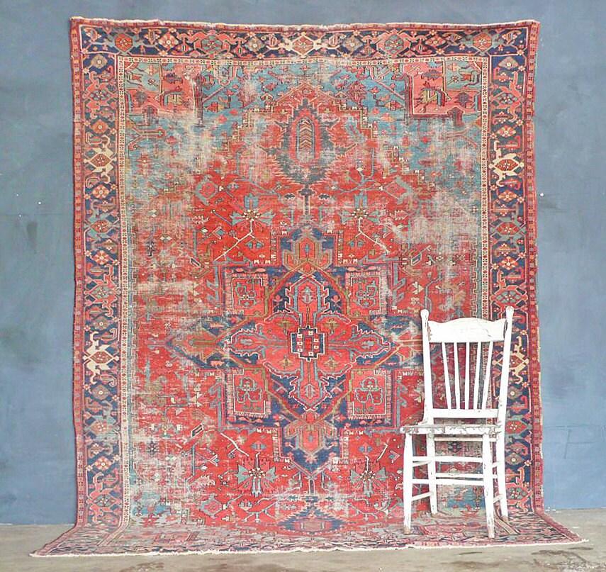 Antique Persian Heriz Rug Bb2402: Antique Persian Heriz Karajeh Rug. Sky Blue Corners. By