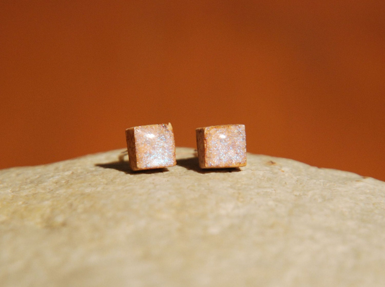 Cork jewelry � Stud earrings � Resin studs � Nature jewelry � Natural earrings � Little studs � Opalescent earrings - Eco friendly jewelry - BalanceAtelier