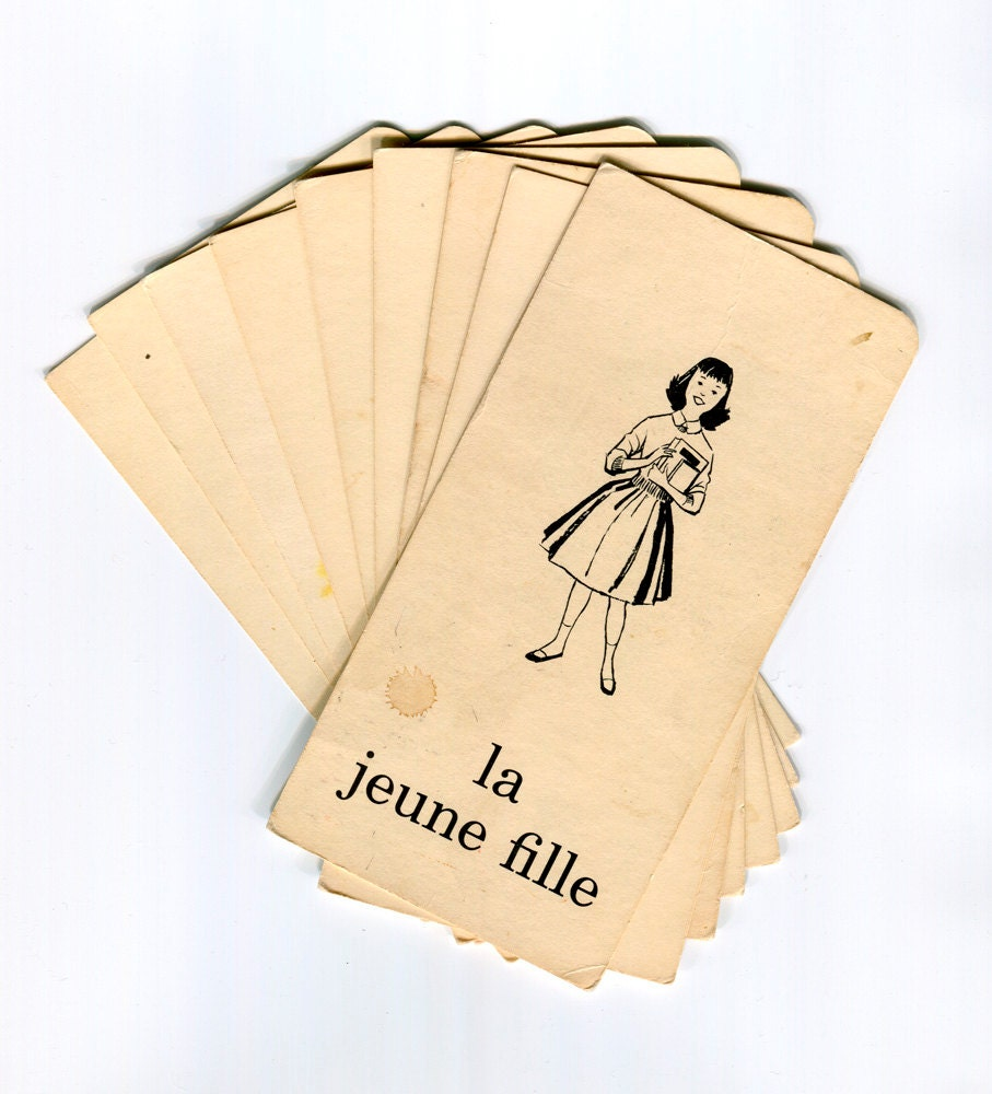 Set of 9 vintage French flash cards showing people, clothing and body parts