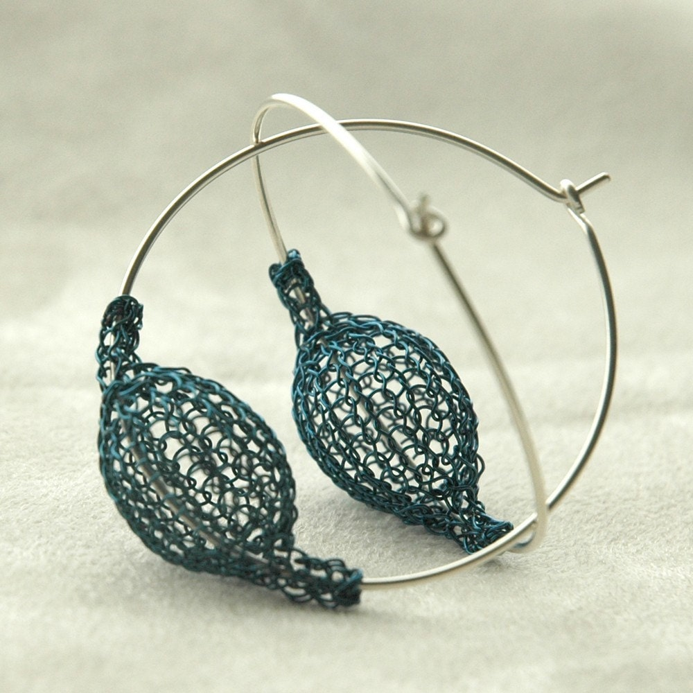 Blue large chic earrings - Pod on a hoop - volume with no weight