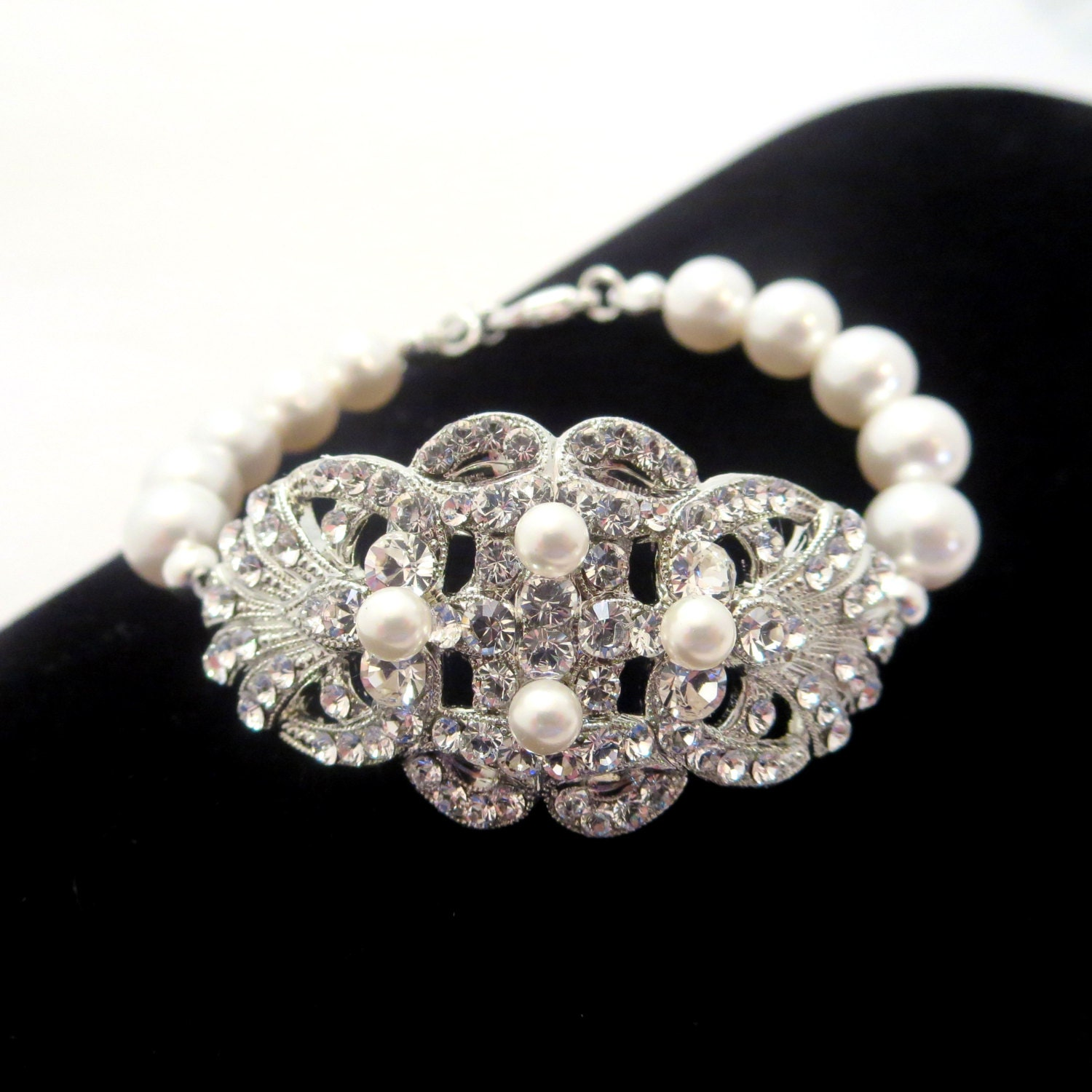 Rhinestone and pearl bracelet, bridal bracelet, Swarovski crystal bracelet, wedding jewelry, wedding bracelet