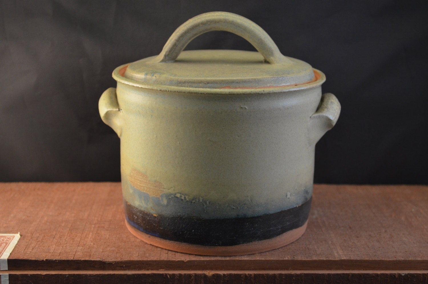 Handmade Ceramic Canister, Cookie Jar, Lidded Kitchen Storage with Handles - Large - Moss Green and Indigo Blue