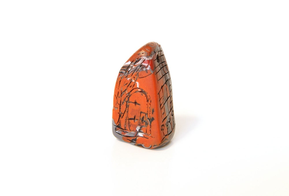 Orange and Gray Tuscan House Handmade Carved Polymer Clay Story Bead - ElysianArtALaCarte
