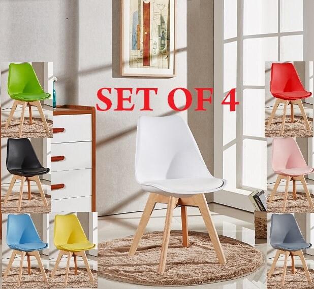 Set Of 4 Lorenzo Tulip Stylish Chair Modern Living Room Dining Room Chair Mid Century Design Scandinavian furniture EAMES Retro