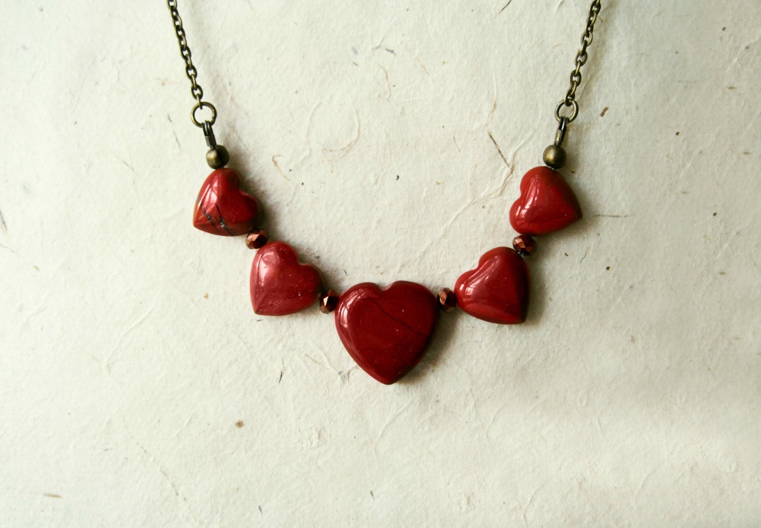 Red Jasper Heart Necklace.  Love Jewelry. Graduated Natural Gemstone Necklace. Rustic Boho Jewelry. Unique Valentine's Day Gifts for Her. - PiggleAndPop