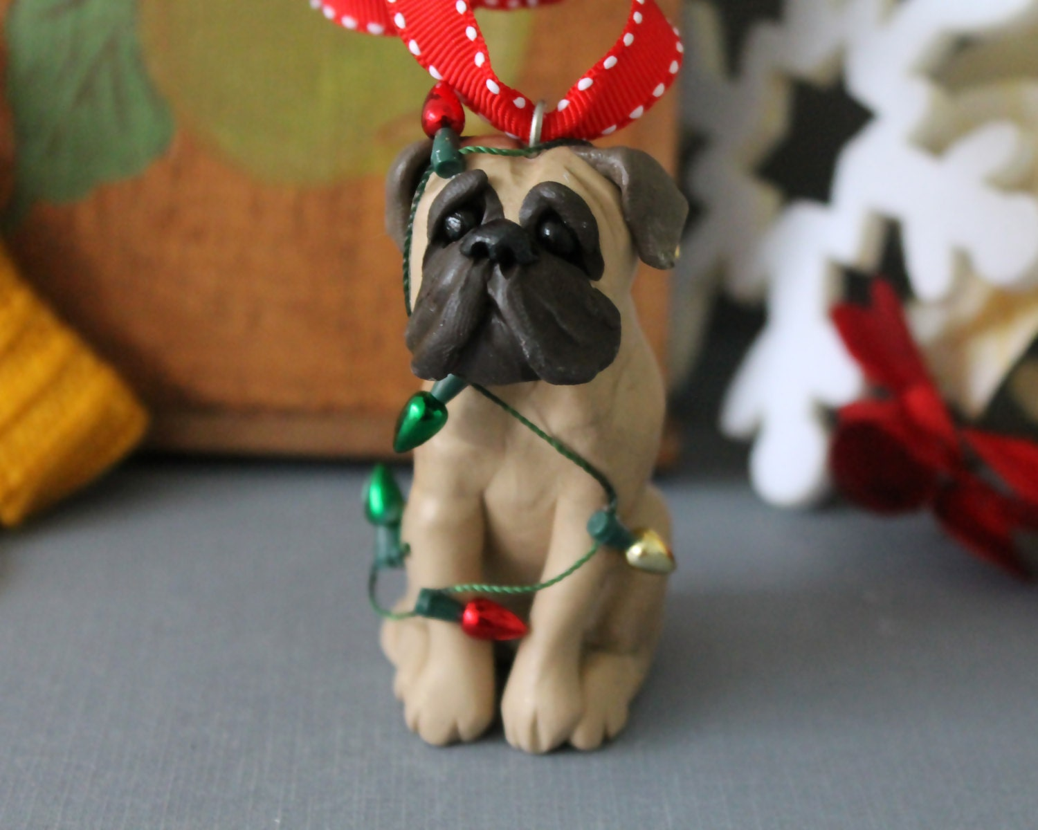 Bullmastiff Christmas Ornament - READY TO SHIP - Bull mastiff Tangled in Lights - CherryRedToppers