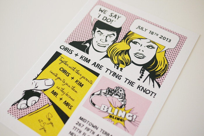 The Comic Strip Fun Printable Wedding Invitation