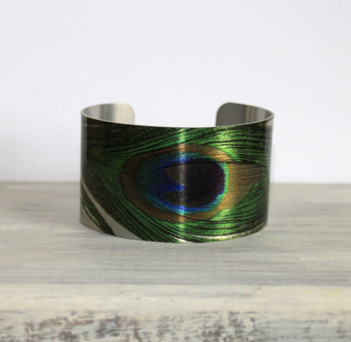 PEACOCK Cuff Bracelet - Metal Cuff - Aluminum Cuff Bracelet - Large Bold Bracelet - Wide Cuff Jewelry - Feather Bracelet