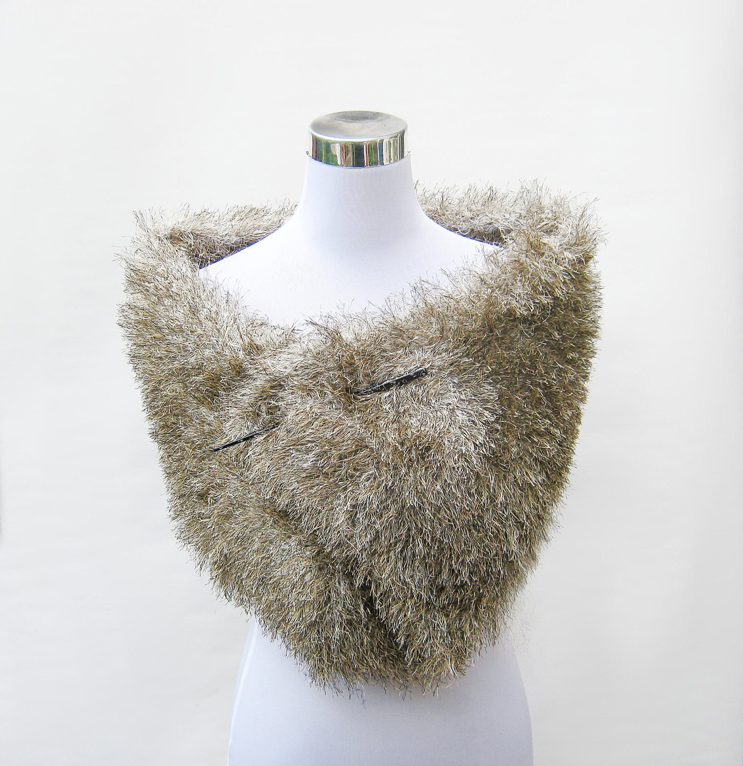 Items similar to Faux fur stole knit raccoon fun fur retro 50s style shawl sh...