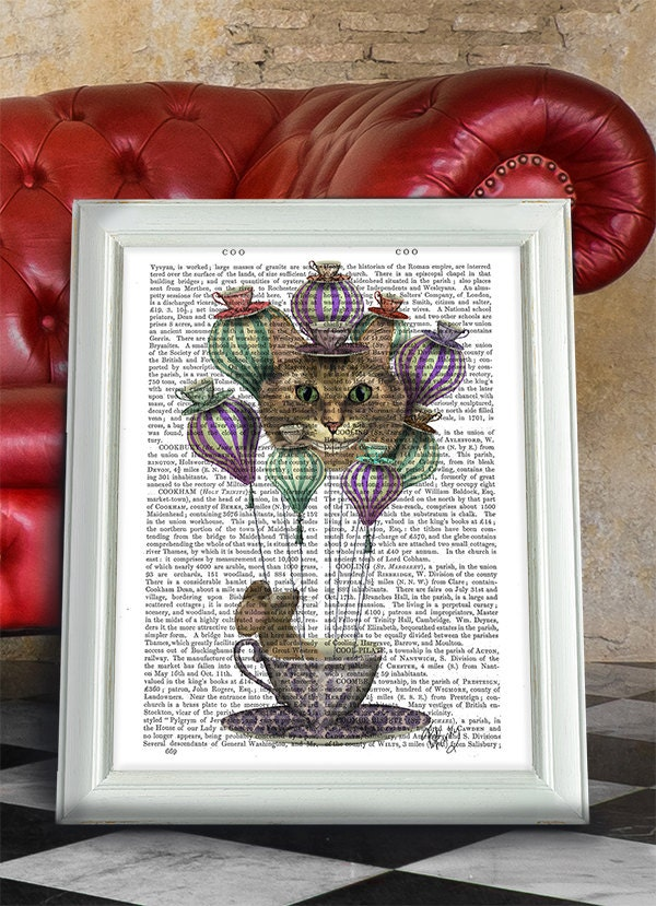 Cheshire Cat Dormouse Alice in wonderland gift Alice Hot Air Balloon  Cheshire Cat Hot Air Balloon  Alice in wonderland Nursery art dcor