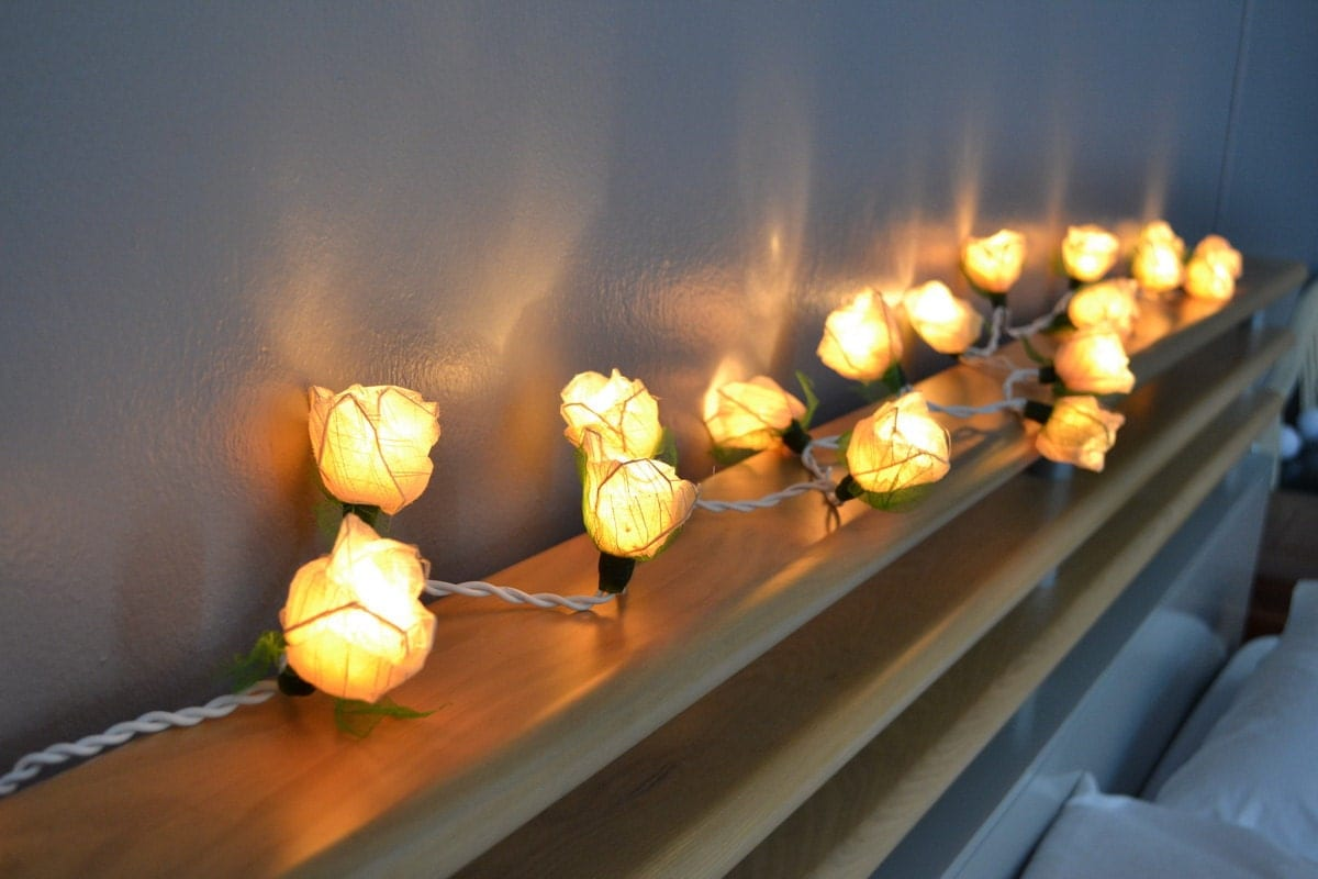 white rose flower string lights for bedroom and by siamlights