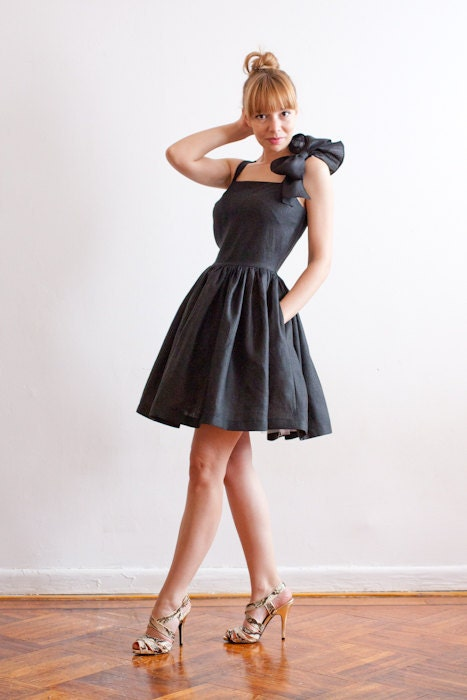 Oversize Bow Linen Dress with Pockets in Black Italian Linen- Made To Measure - More Colors Available