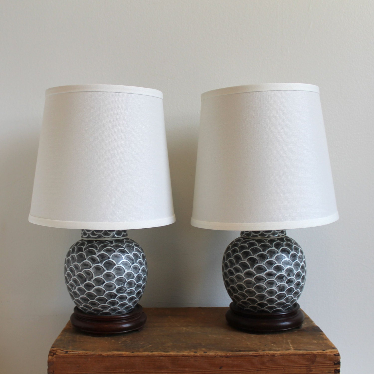 Pair Of Vintage Asian Ginger Jar Lamps With By