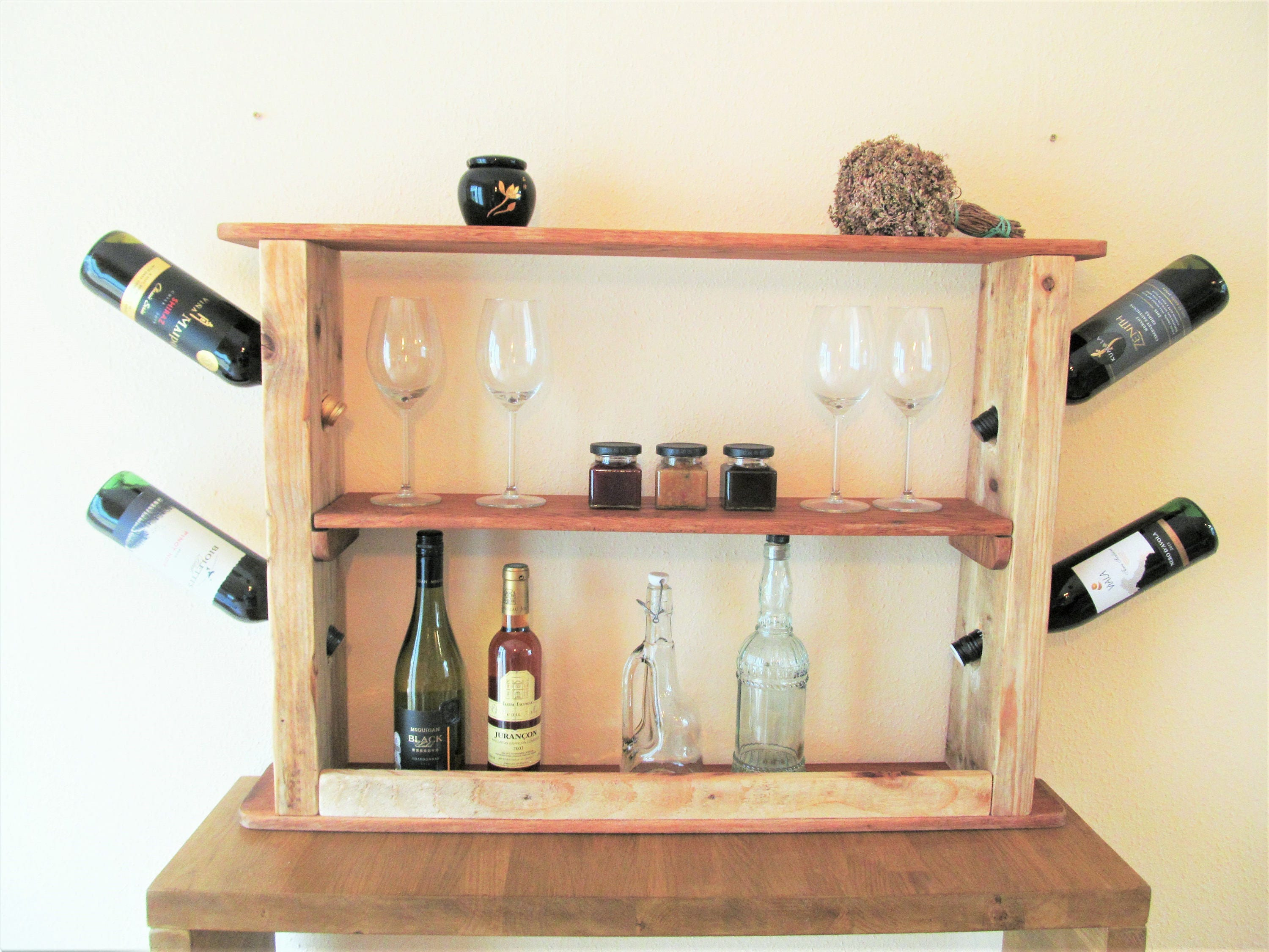 Handmade Wine Rack from reclaimed timber kitchen and dining room rustic shelving