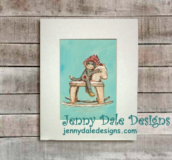 Sock Monkey Art, Nursery Art, Nursery Decor-   Sock monkey and rocking horse: Art print - JennyDaleDesigns