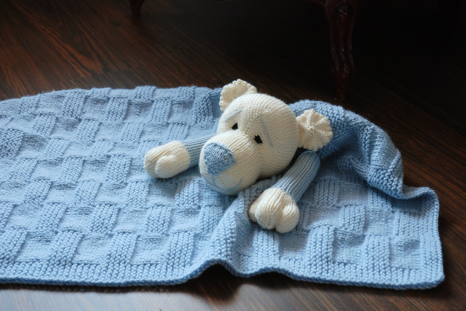Knitting Patterns For Toys On Etsy : Baby Bear Toy Blanket knitting pattern by deniza17 on Etsy