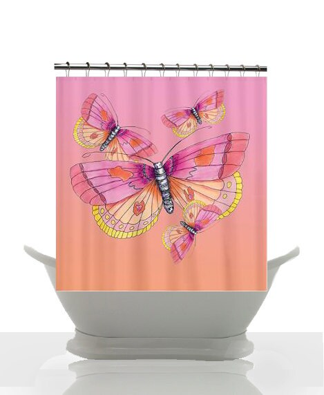 Butterfly Shower Curtain - Pink and Peach -   Watercolor Illustration Art, butterflies, girlie decor, bath, home - ArtfullyFeathered