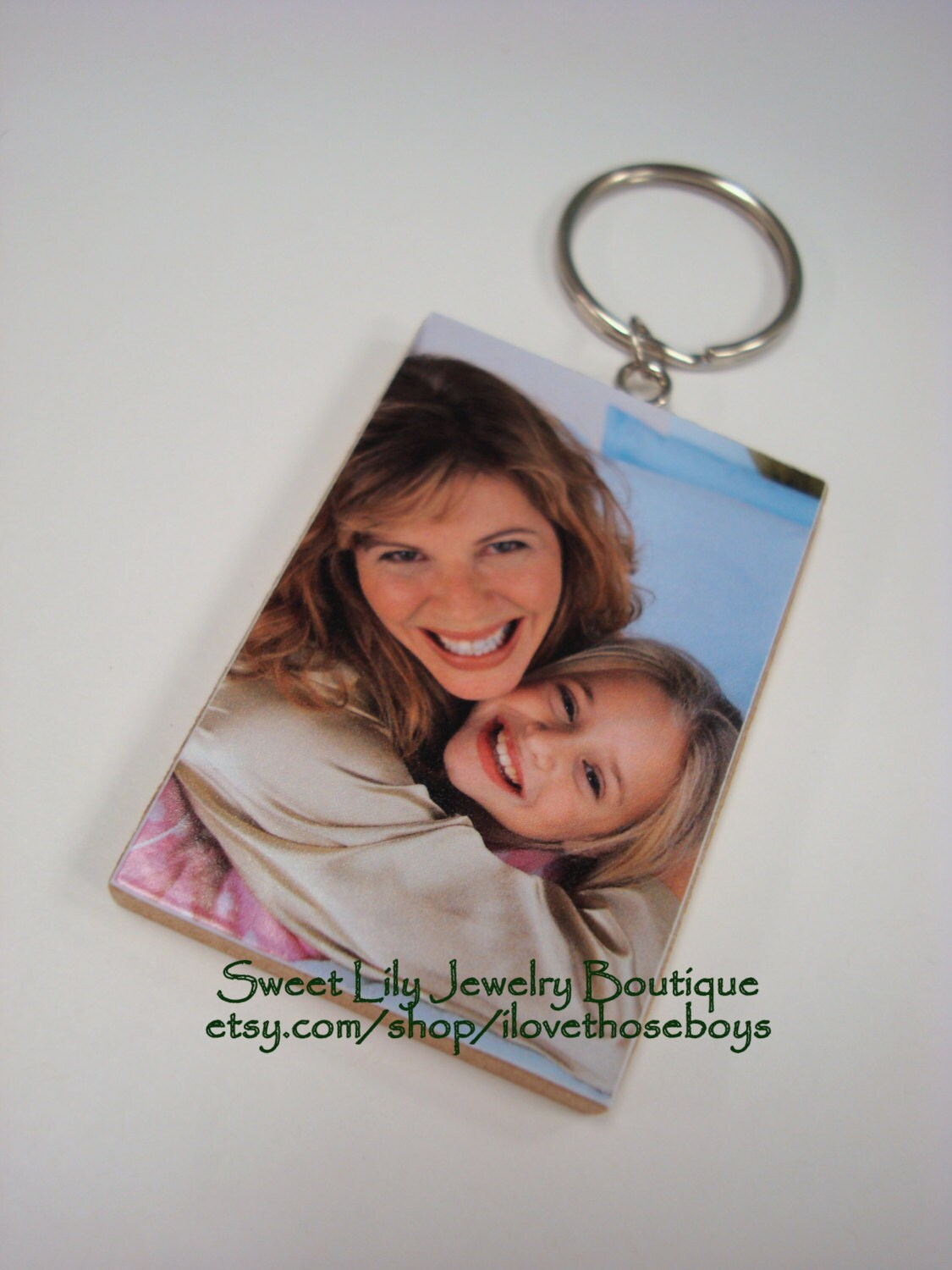 Custom Two-Sided Wooden Rectangle Photo Key Chain