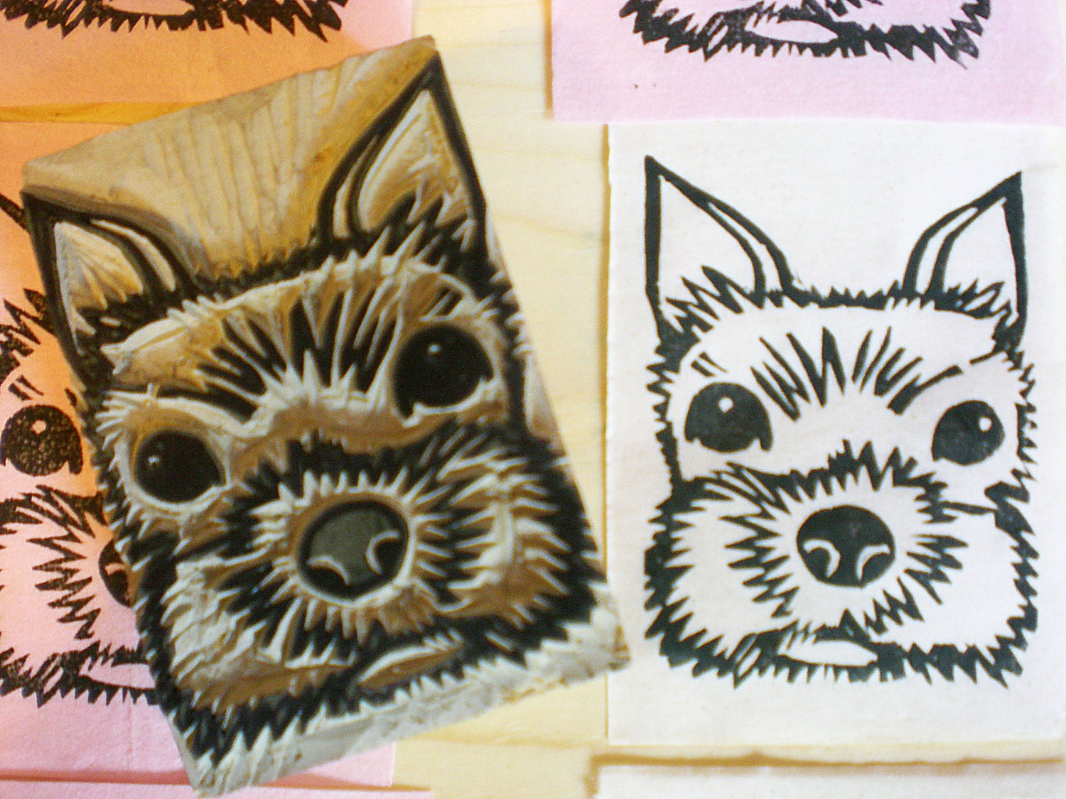 Items similar to terrier stamp hand carved linoleum block
