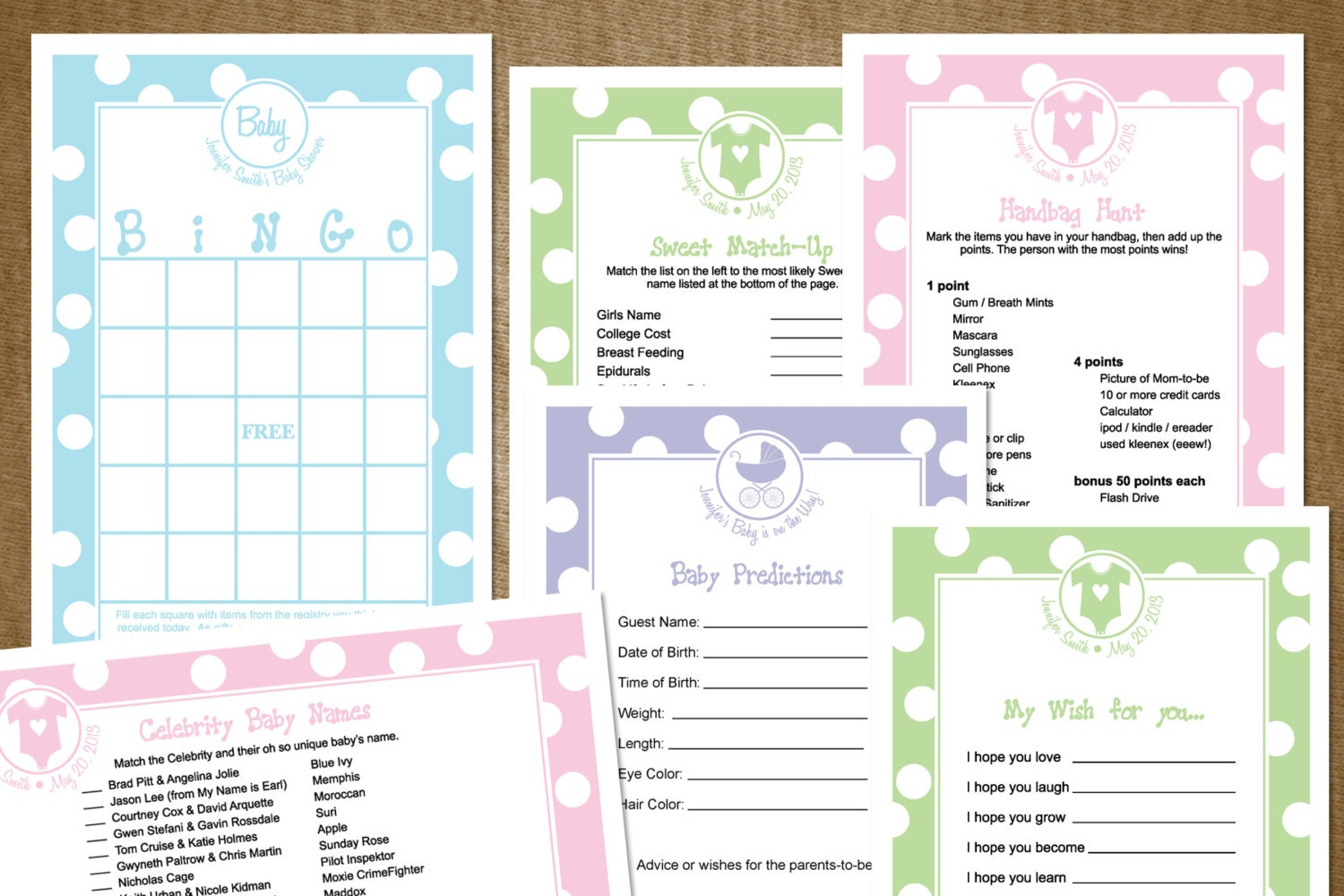 customized diy baby shower game pack with 3 games pink green