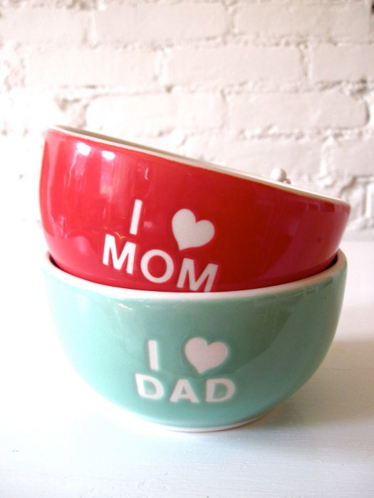 I Love Dad Angel Turquoise Green Bowl