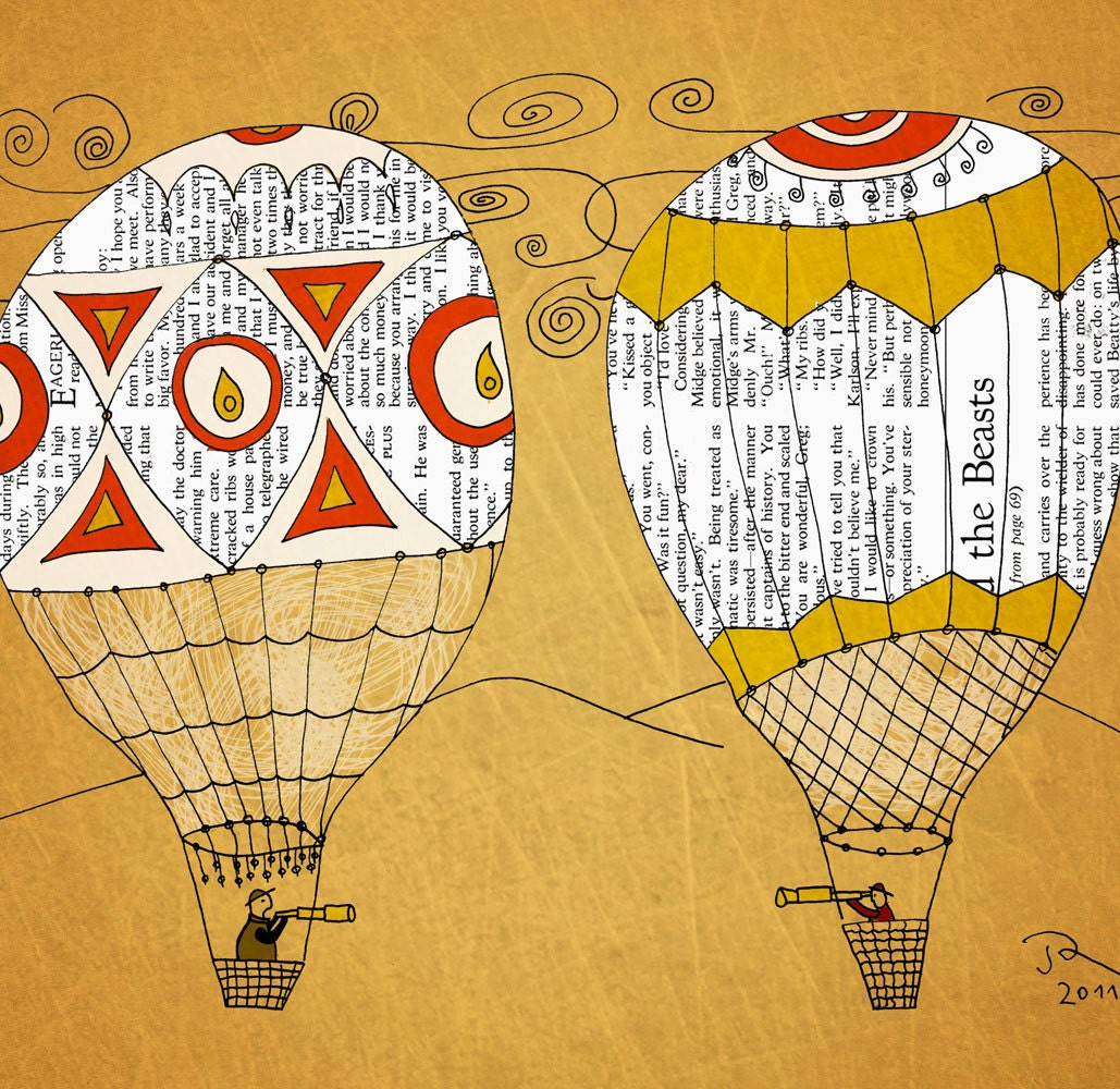 Travel hot air balloon Giclee Art Print Limited edition 12''x16'' (A3)by Juri Romanov Orange Optimist