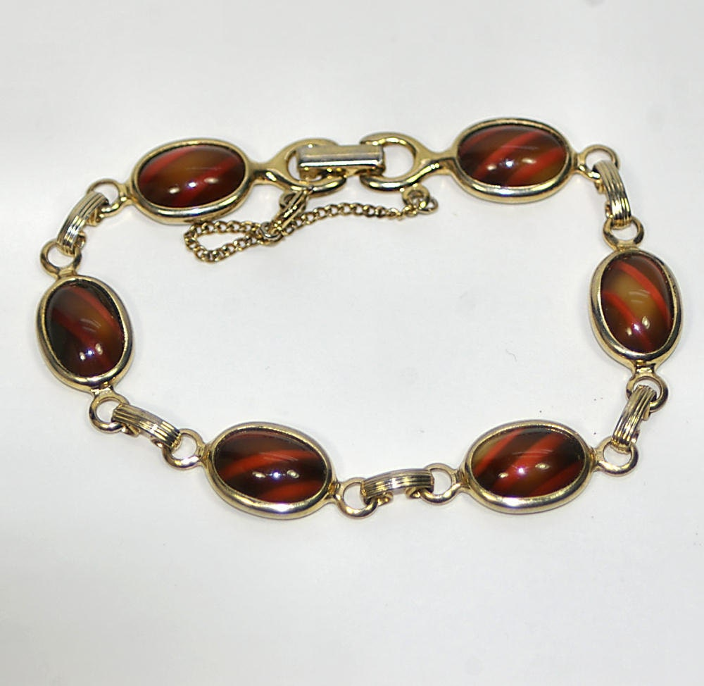 60s Sarah Coventry Red and Gold Goldtone Bracelet Scarab Bracelet Signed Sarah Coventry Bracelet Sarah Cov Bracelet Mid Century Bracelet - KickassStyle
