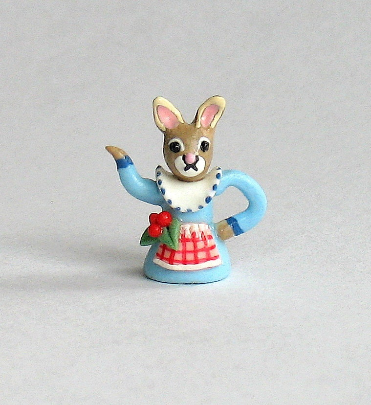 Miniature Petite Miss Bunny Teapot OOAK by C. Rohal