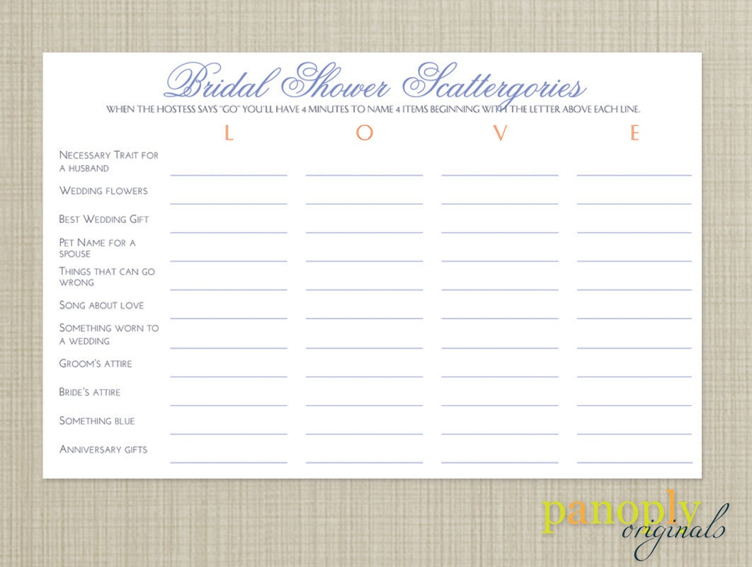 Scattergories printable cards for Bridal shower games that aren t cheesy