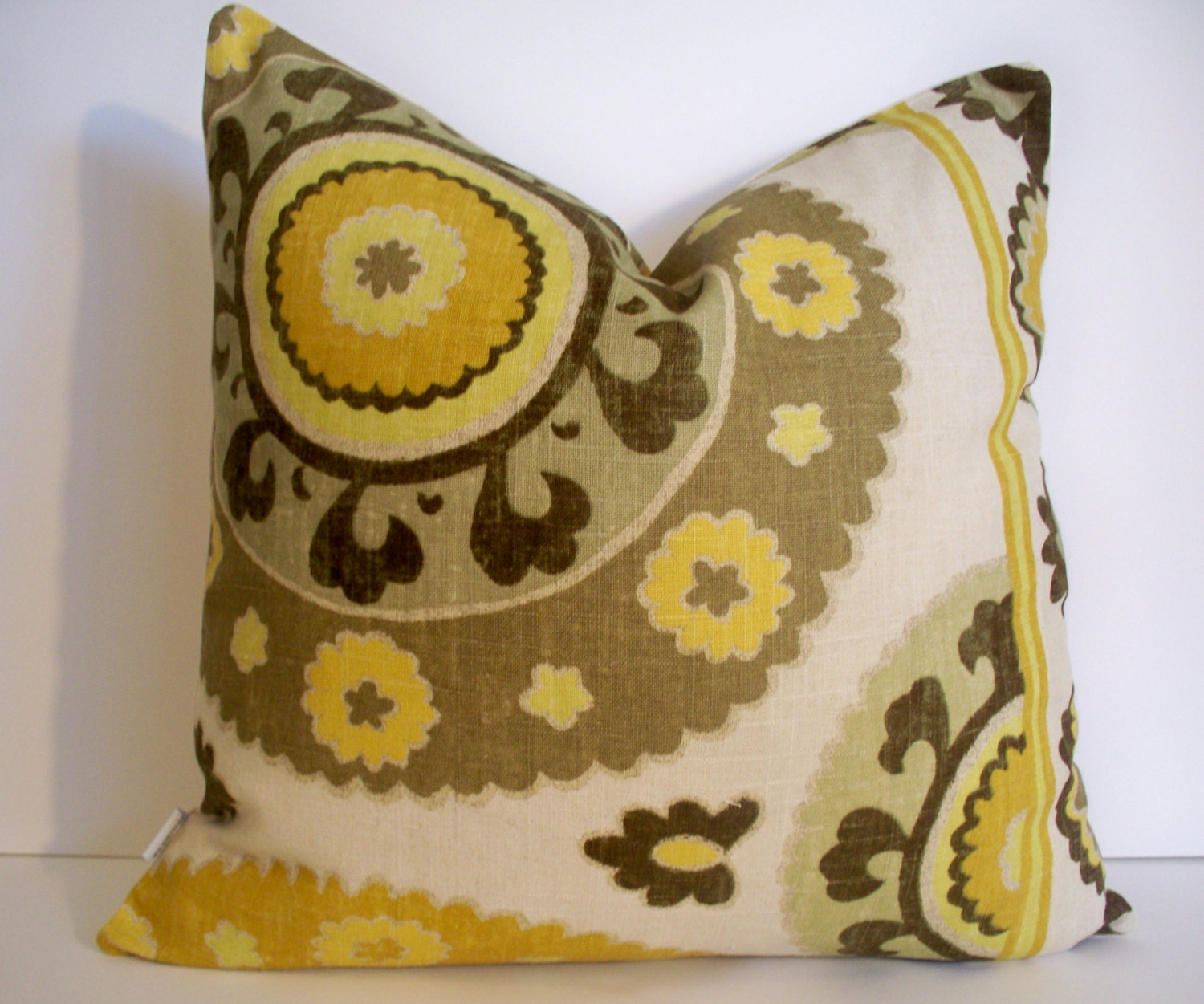 Yellow Brown Throw Pillows : Yellow Brown Pillow Suzani 18X18 14X24 16X16 by linenandoak