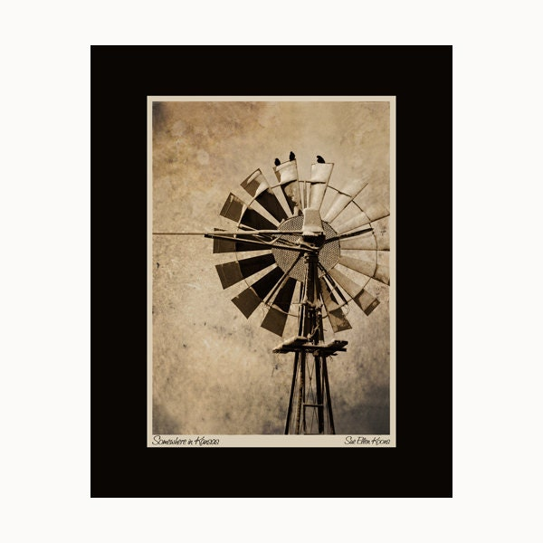 Somewhere in Kansas, Windmill 8x10 Print