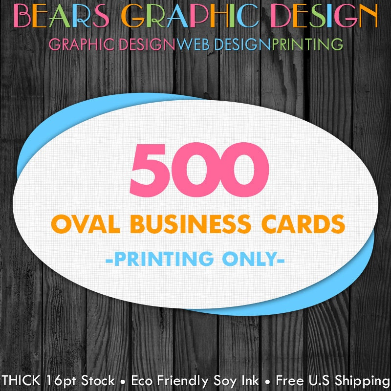 500 Oval Business Cards by BearsGraphicDesign on Etsy