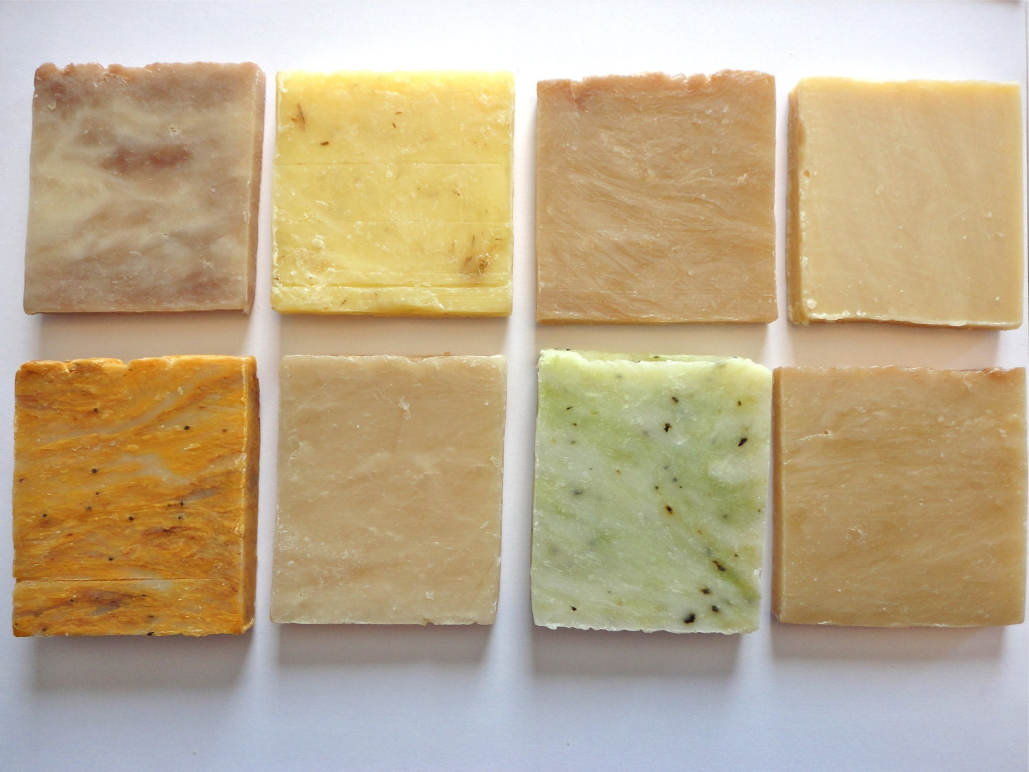15 handmade mini soap favors in various colors and scents