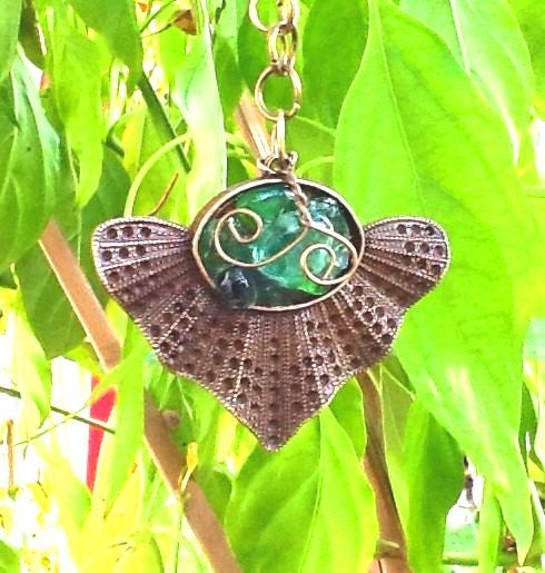 medieval unique bronze seaglass mosaic pendant necklace adorned with rose pearls - Thesnowrose
