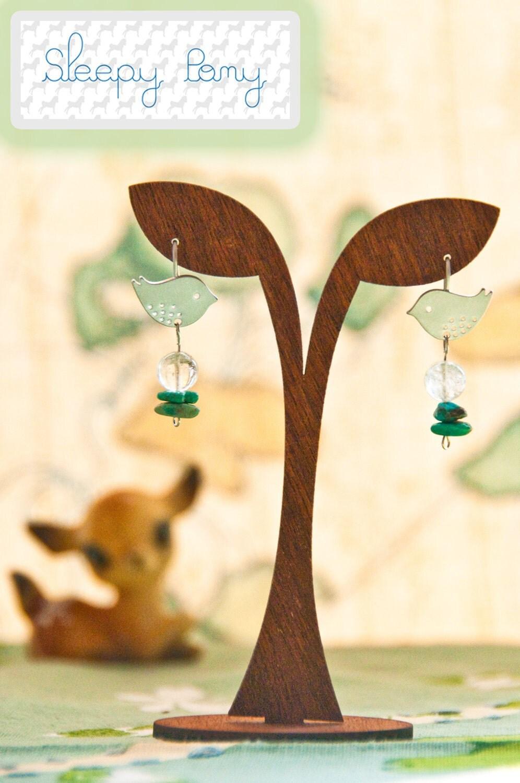 Bitsy Birdie Turquoise Earrings