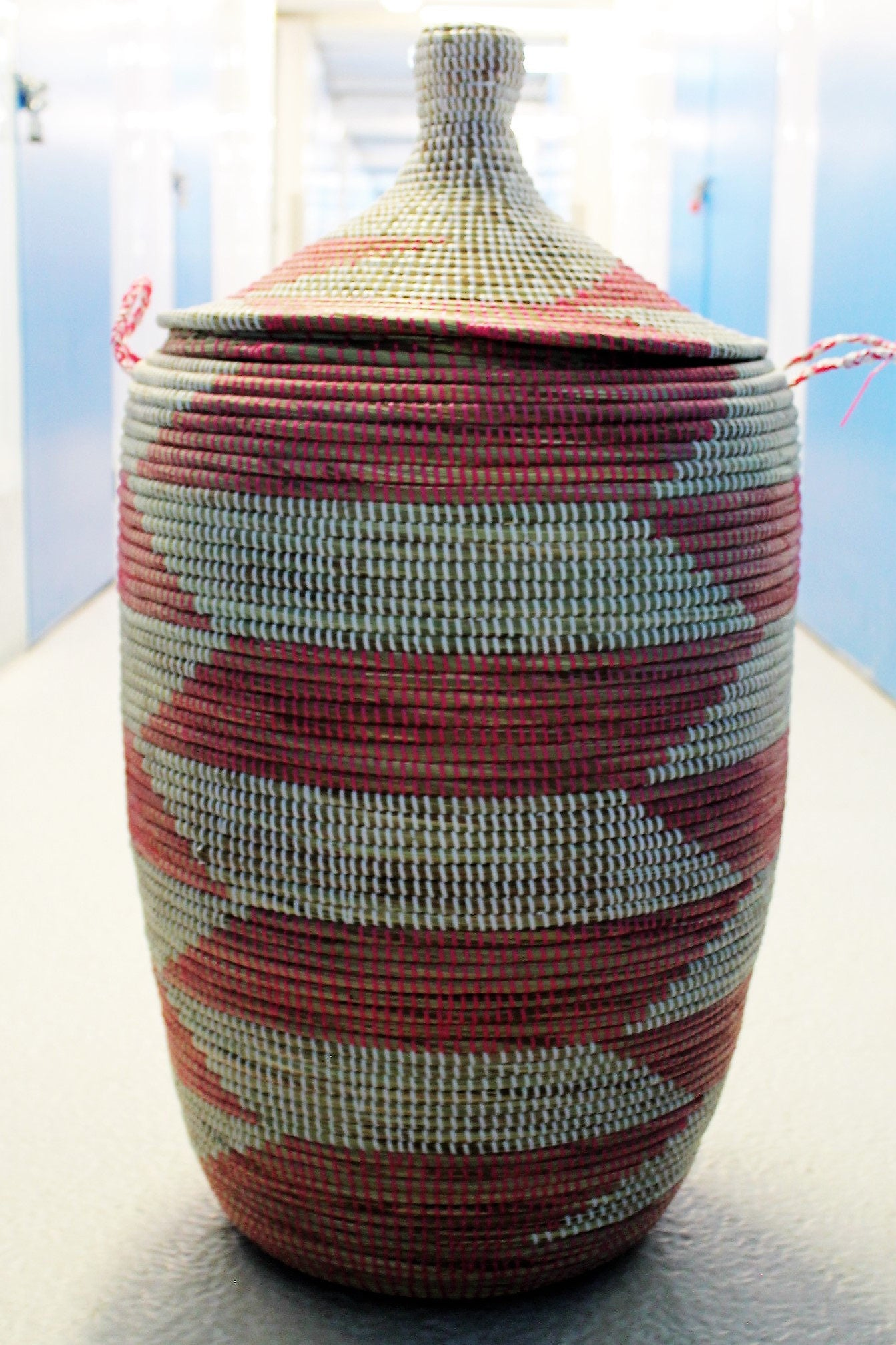 multi coloured handwoven laundry basket laundry basket  recycled plastic basket extra large basket