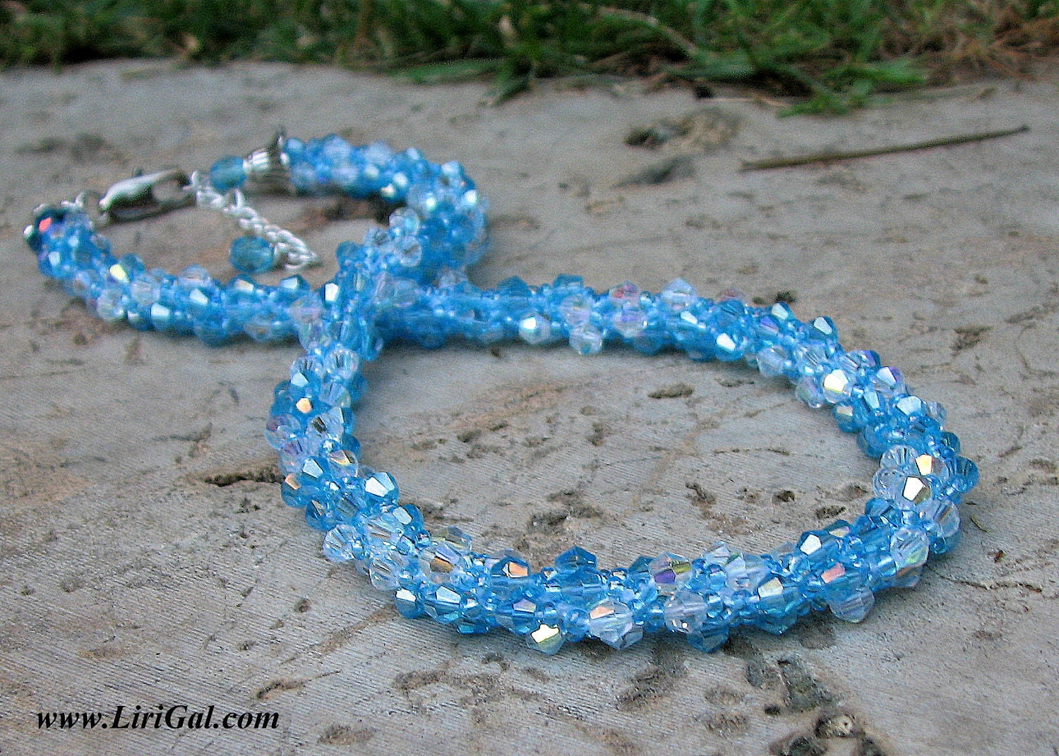 Two Colors Spiral. Blue Crystals Beaded Necklace