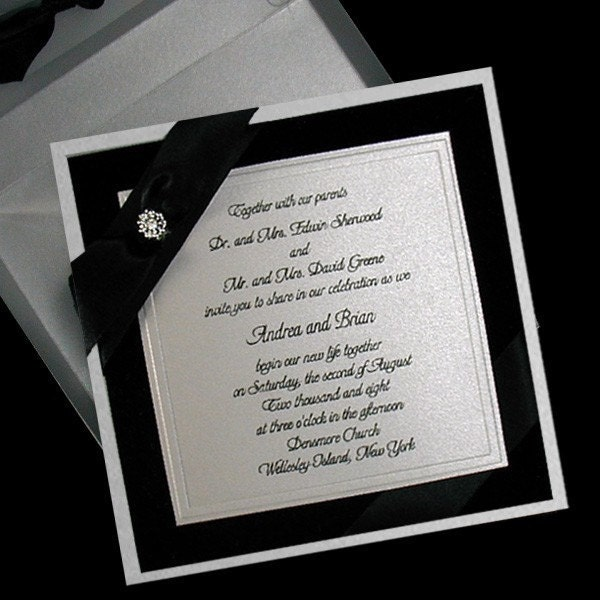 100 Boxed Couture Wedding Invitations Black Velvet Silver Satin Bow