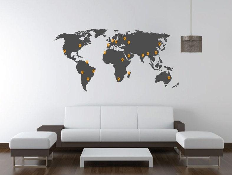 Mapa mundi vinilo decorativo vinilo de pared por for Mapamundi vinilo pared