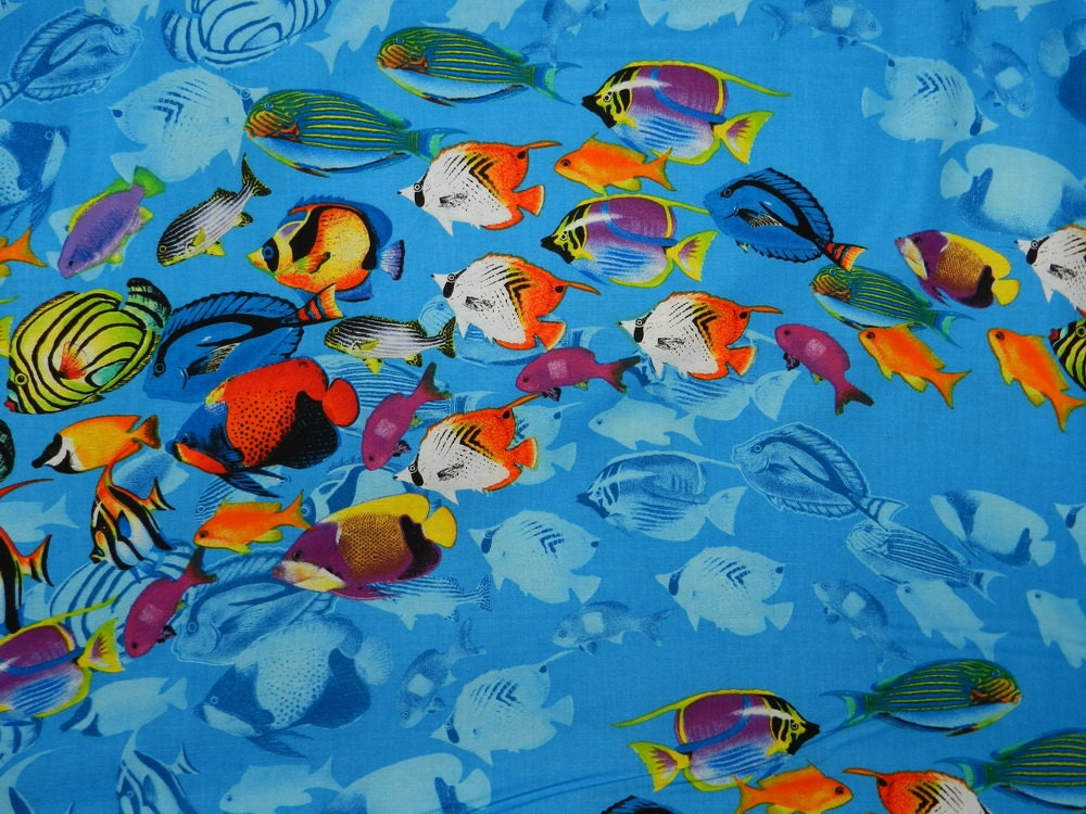 reef fish fabric by the yard by thefabricfox on etsy