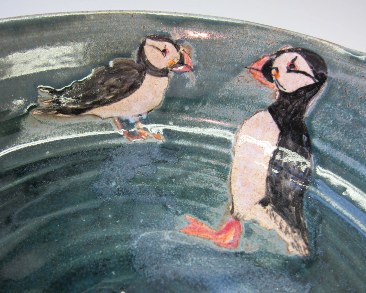Two Puffins Stoneware Clay Pottery Serving Bowl