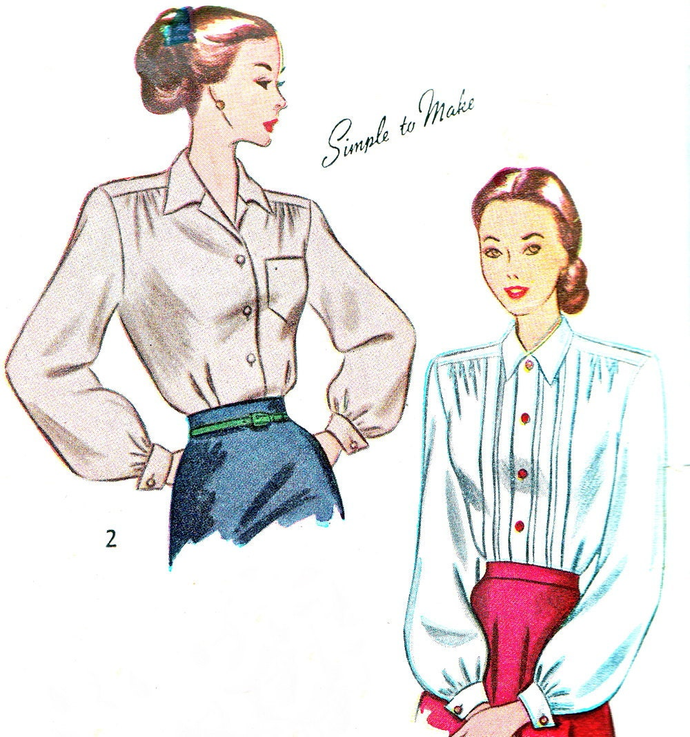 1940s womens blouse pattern simplicity 2277 long or short sleeve front